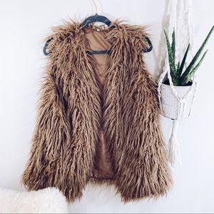 Shein Faux Fur Vest, Brown Shag M